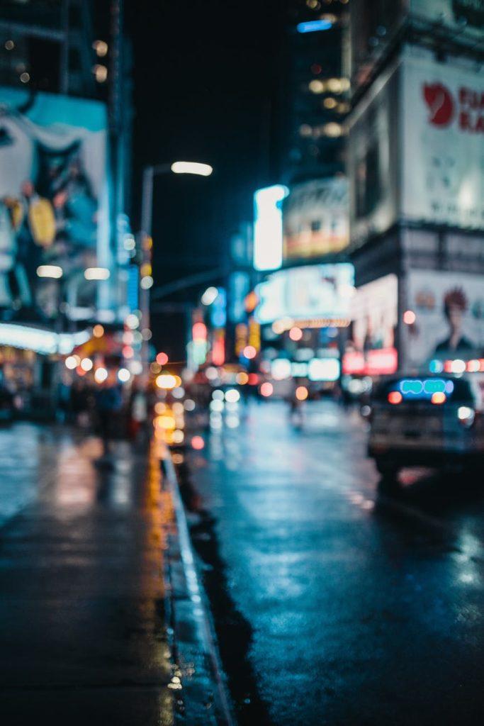 blurred shot of a city at night